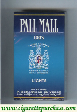 Discount Pall Mall Famous American Cigarettes Lights 100s cigarettes hard box