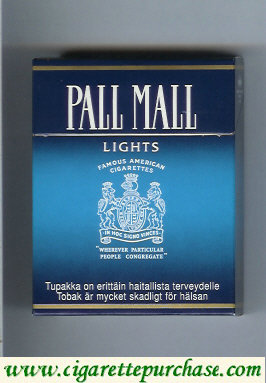 Discount Pall Mall Famous American Cigarettes Lights 25s cigarettes hard box