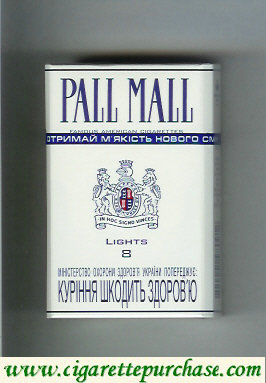 Discount Pall Mall Famous American Cigarettes Lights 8 cigarettes hard box
