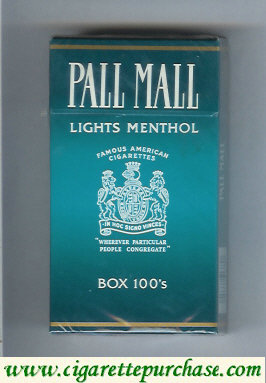 Discount Pall Mall Famous American Cigarettes Lights Menthol Box 100s Dark Green cigarettes hard box