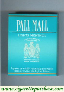 Discount Pall Mall Famous American Cigarettes Lights Menthol light green 25s cigarettes hard box
