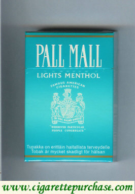 Discount Pall Mall Famous American Cigarettes Lights Menthol light green cigarettes hard box