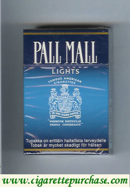 Discount Pall Mall Famous American Cigarettes Lights cigarettes hard box
