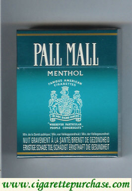Discount Pall Mall Famous American Cigarettes Menthol 25s cigarettes hard box