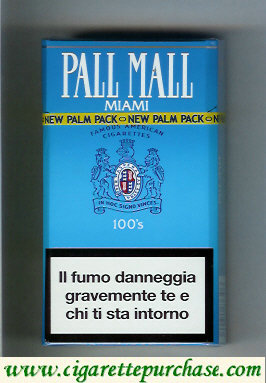 Discount Pall Mall Famous American Cigarettes Miami 100s cigarettes hard box