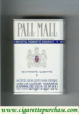 Discount Pall Mall Famous American Cigarettes Ultimate Lights 1 cigarettes hard box