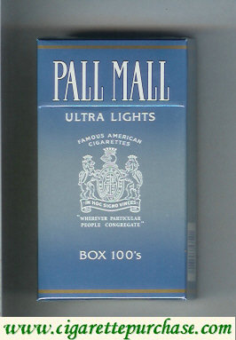 Discount Pall Mall Famous American Cigarettes Ultra Lights Box 100s cigarettes hard box