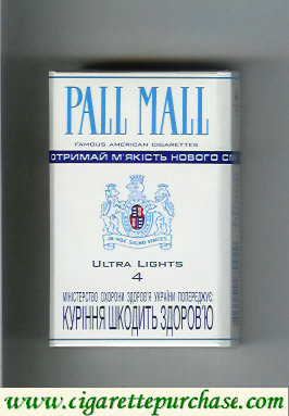 Pall Mall Famous American Cigarettes Ultra Lights 4 cigarettes hard box