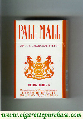 Discount Pall Mall Famous Charcoal Filter Ultra Lights 4 cigarettes hard box