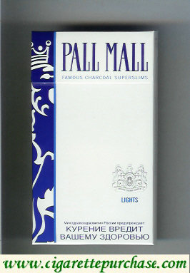 Discount Pall Mall Famous Charcoal Superslims Lights 100s cigarettes hard box