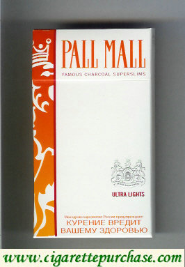 Discount Pall Mall Famous Charcoal Superslims Ultra Lights 100s cigarettes hard box