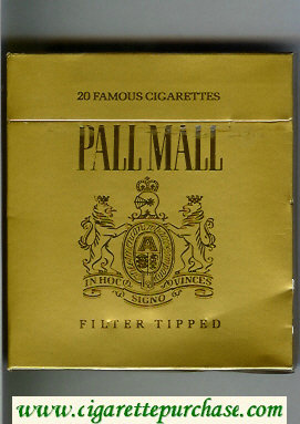 Discount Pall Mall Famous Cigarettes Filter Tipped gold 100s cigarettes wide flat hard box