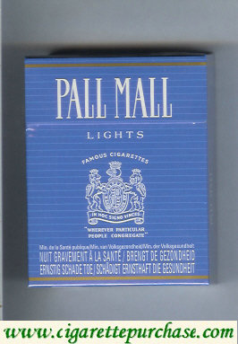 Discount Pall Mall Famous Cigarettes Lights blue 25s cigarettes hard box
