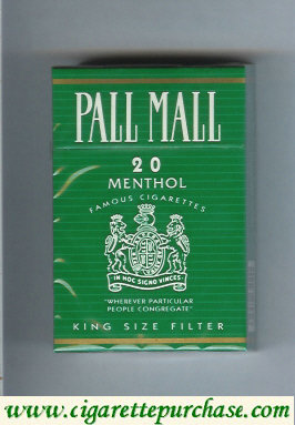 Discount Pall Mall Famous Cigarettes Menthol 20 cigarettes hard box