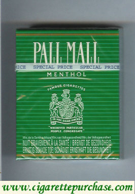 Discount Pall Mall Famous Cigarettes Menthol 25s cigarettes hard box