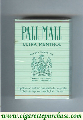 Discount Pall Mall Famous Cigarettes Ultra Menthol cigarettes hard box