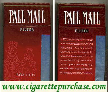 Discount Pall Mall Filter Box 100s cigarettes hard box