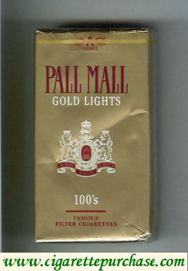 Discount Pall Mall Gold Lights 100s cigarettes soft box