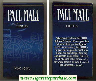 Discount Pall Mall Lights Box 100s cigarettes hard box