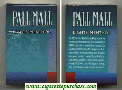 Discount Pall Mall Lights Menthol cigarettes hard box