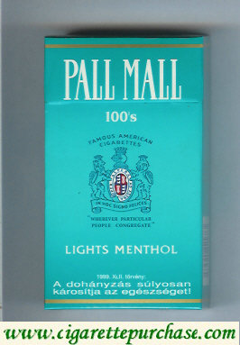 Discount Pall Mall Lights Menthol light green 100s cigarettes hard box