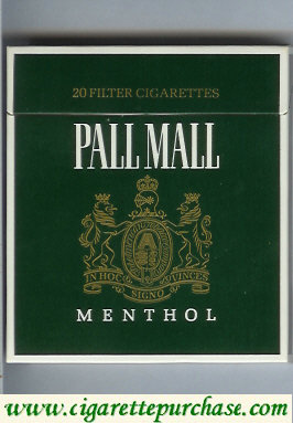 Discount Pall Mall Menthol Filter Cigarettes green 100s cigarettes wide flat hard box