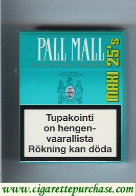 Discount Pall Mall Refreshing Menthol Lights 25s cigarettes hard box