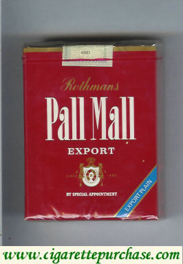 Discount Pall Mall Rothmans Export Export Plain red 25s cigarettes soft box