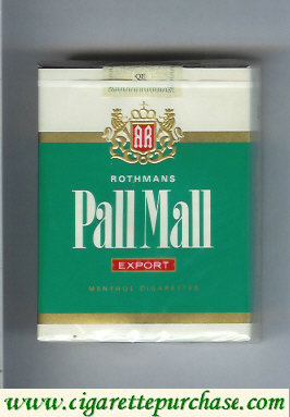 Discount Pall Mall Rothmans Export Menthol 25s cigarettes soft box
