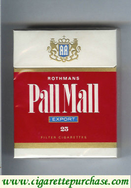 Discount Pall Mall Rothmans Export red and white 25s cigarettes hard box