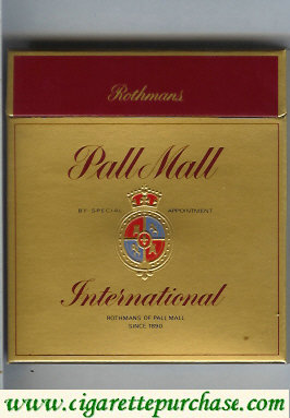 Pall Mall Rothmans International gold 100s cigarettes wide flat hard box