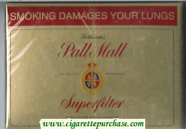 Pall Mall Rothmans Superfilter gold 30 cigarettes wide flat hard box