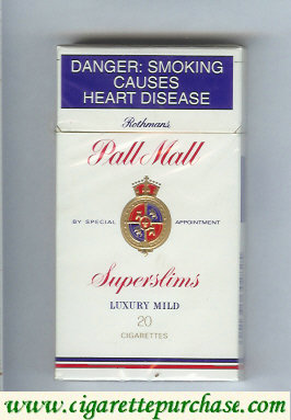 Discount Pall Mall Rothmans Superslims Luxury Mild 20 cigarettes 100s hard box