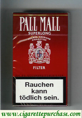 Discount Pall Mall SuperLong Famous American Cigarettes Filter 100s cigarettes hard box