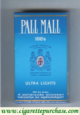 Discount Pall Mall Ultra Lights 100s cigarettes hard box