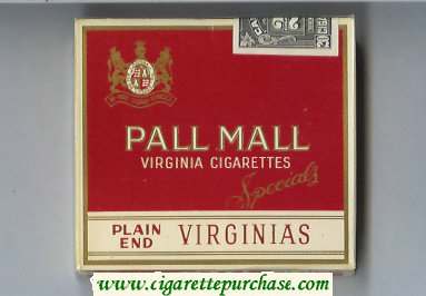 Pall Mall Virginias Plain End Specials cigarettes wide flat hard box