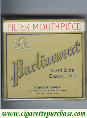 Discount Parliament Benson and Hedges Filter Mouthpiece King Size Cigarettes wide flat hard box