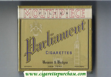 Discount Parliament Benson and Hedges Mouthpiece Filter cigarettes wide flat hard box