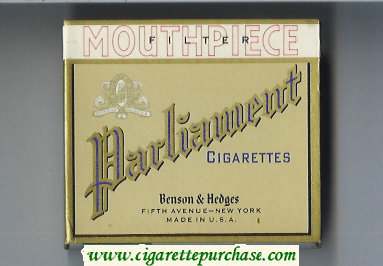 Discount Parliament Benson and Hedges Mouthpiece Filter wide flat hard box cigarettes