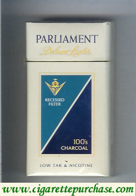 Discount Parliament Deluxe Lights 100s Charcoal cigarettes hard box