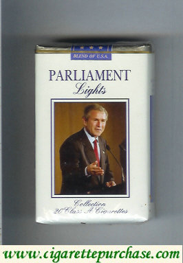 Discount Parliament Lights design with George Bush Blend of U.S.A. cigarettes soft box