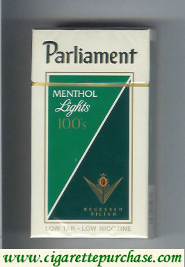 Parliament Menthol Lights 100s cigarettes hard box