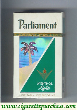 Discount Parliament Menthol Lights hologram with a palm 100s cigarettes hard box