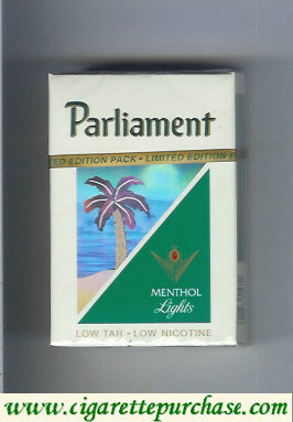 Parliament Menthol Lights hologram with a palm cigarettes hard box