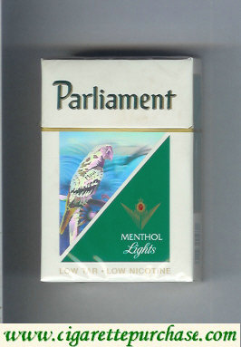Discount Parliament Menthol Lights hologram with a parrot cigarettes hard box