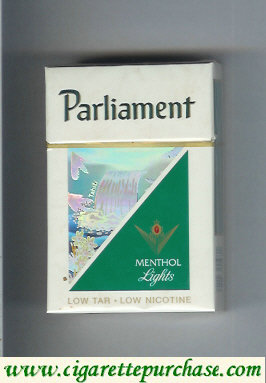 Discount Parliament Menthol Lights hologram with a waterfall cigarettes hard box