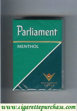 Discount Parliament Menthol green and dark green cigarettes hard box