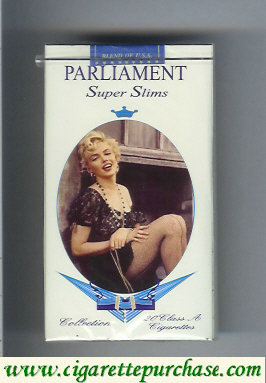 Discount Parliament Super Slims 100s design with Marlin Monro soft box cigarettes