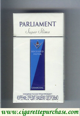 Discount Parliament Super Slims Charcoal 100s cigarettes hard box