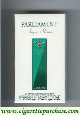 Discount Parliament Super Slims Menthol 100s cigarettes hard box